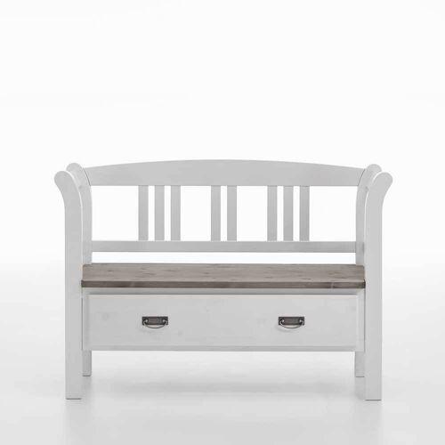 Pharao24.de Landhaus Sitzbank in Weiß Grau einer Schublade