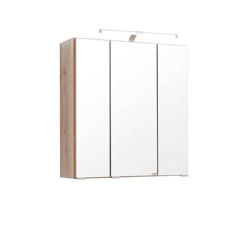 Pharao24.de Bad Spiegelschrank in Buche LED Aufbauleuchte