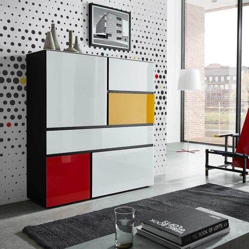Pharao24.de Wohnzimmer Highboard in Weiß Bunt modern