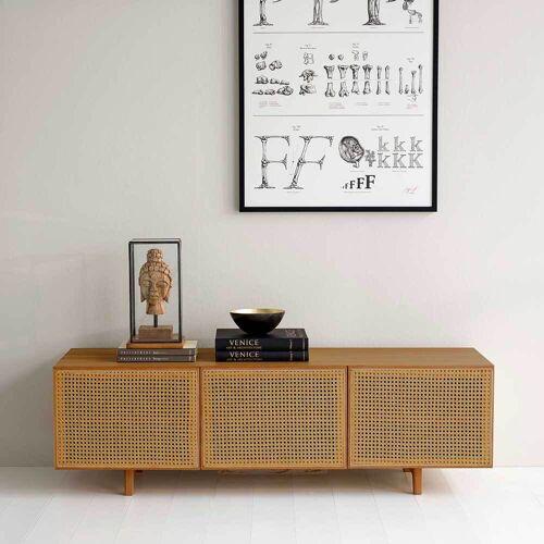 Pharao24.de Design Lowboard aus Peddigrohr Geflecht 150 cm breit