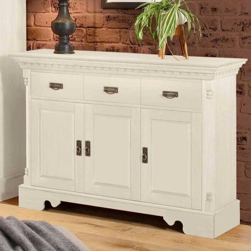 Pharao24.de Landhausstil Sideboard in Weiß 45 cm tief