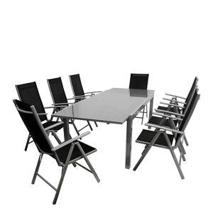 Pharao24.de Gartensitzgruppe in Schwarz und Grau klappbaren Stühlen (neunteilig)