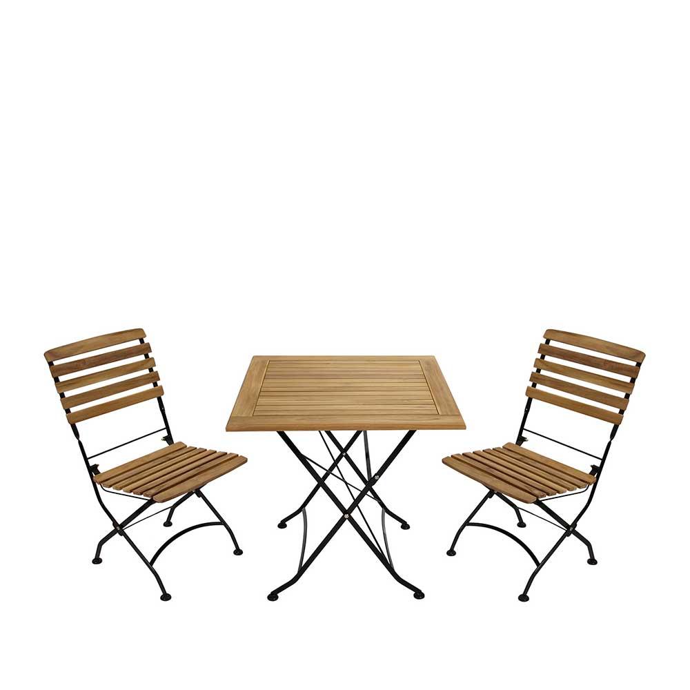 Pharao24.de Balkon Sitzgruppe aus Teak Massivholz klappbar (dreiteilig)
