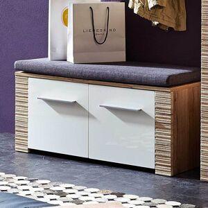 Pharao24.de Garderobenbank mit Türen Weiß Hochglanz Eiche San Remo