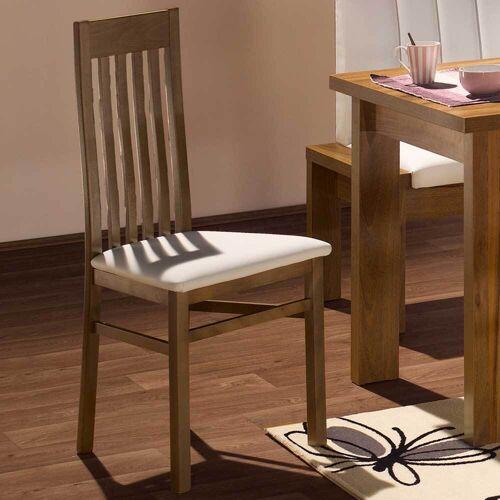 Pharao24.de Esstischstühle in Nussbaumfarben Weiß (2er Set)