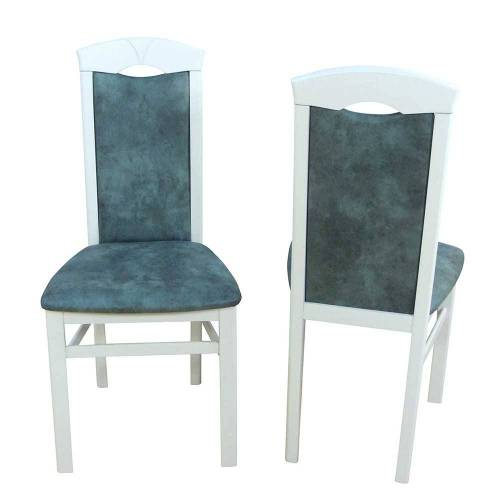 Pharao24.de Stuhl Set in Weiß Buche Grau Blau Microfaser (2er Set)