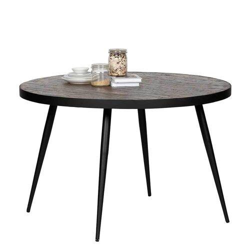 Pharao24.de Runder Tisch aus Teak Recyclingholz Eisen
