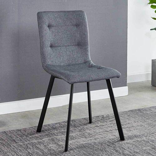 Pharao24.de Esstischstühle in Hellgrau Webstoff 50 cm Sitzhöhe (2er Set)