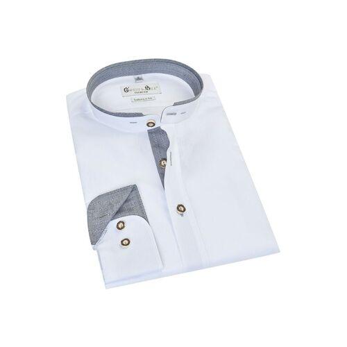 G'weih & Silk Trachtenhemd langarm weiß grau Pilsensee 010670