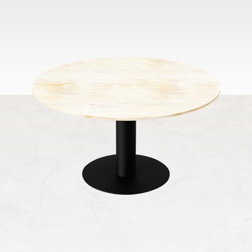 Aime Té Runder Travertin-Esstisch (Mittelfuß/Bistrotisch) - 110 cm