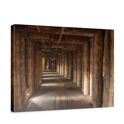 liwwing (R) Leinwandbild Salt Mine Salzbergwerk braun Holz Bergwerk rustikal Balken 3D Tunnel   no. 27 Panorama Querformat - 145x45 cm - PREMIUM PLUS