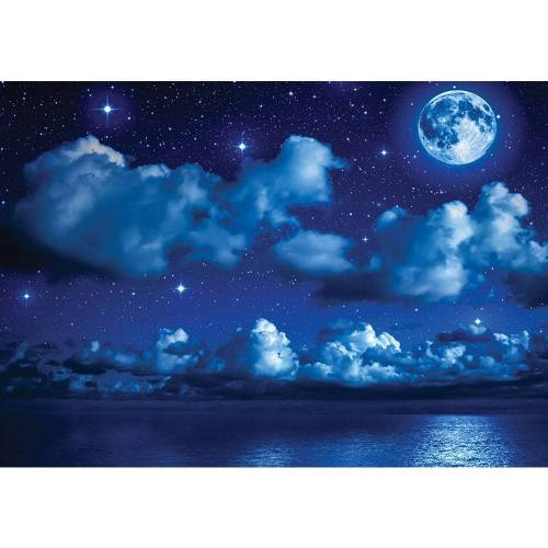 liwwing (R) Fototapete Sternenhimmel Tapete Nacht Mond Sterne Sternenhimmel Wolken Meer blau   no. 2239 Fototapete Vlies - PREMIUM PLUS 254x184 cm
