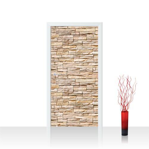 liwwing (R) Türtapete - Asian Stone Wall - natural Steinwand Steinoptik Verblendsteine Wandverblender   no. 142 Tür Fototapete - Vlies PREMIUM PLUS 100x211 cm
