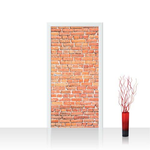 liwwing (R) Türtapete - Red Brick Stone Wall Steinwand rot Steinoptik Verblendsteine Wandverblender   no. 136 Tür Fototapete - Vlies PREMIUM PLUS 100x211 cm