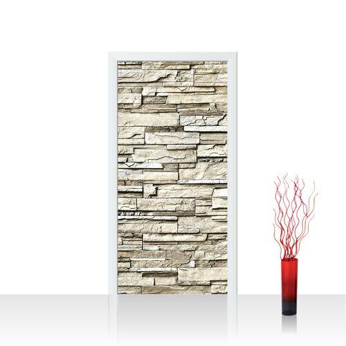 liwwing (R) Türtapete - Noble Stone Wall - beige Steinwand Steinoptik Verblendsteine Wandverblender   no. 134 Tür Fototapete - Vlies PREMIUM PLUS 100x211 cm