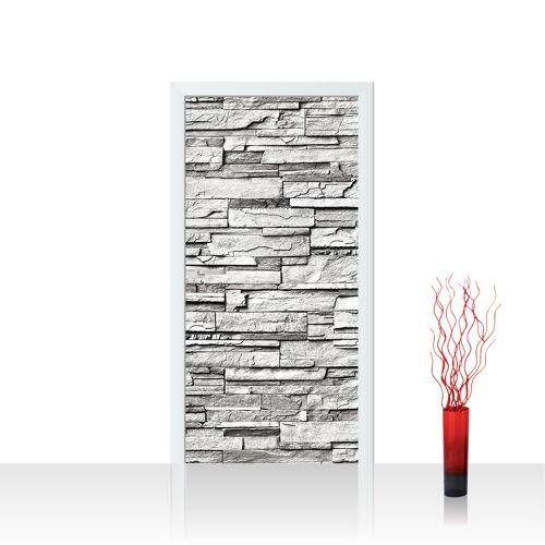 liwwing (R) Türtapete - Noble Stone Wall - grau Steinwand Steinoptik Verblendsteine Wandverblender   no. 132 Tür Fototapete - Vlies PREMIUM PLUS 100x211 cm