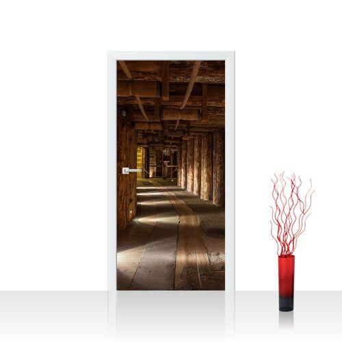 liwwing (R) Türtapete - Salt Mine Salzbergwerk braun Holz Bergwerk rustikal Balken 3D Tunnel   no. 27 Tür Fototapete - Folie (selbstkl.) PREMIUM PLUS 100x211 cm