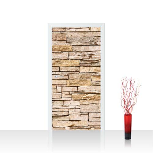 liwwing (R) Türtapete - Asian Stone Wall - natural Steinwand Steinoptik Verblendsteine Wandverblender   no. 130 Tür Fototapete - Vlies PREMIUM PLUS 100x211 cm