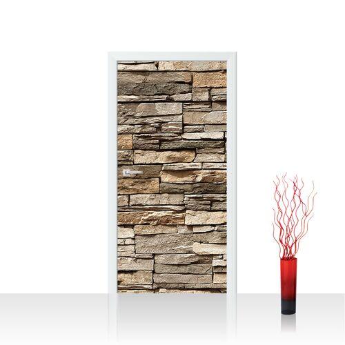 liwwing (R) Türtapete - Asian Stone Wall - braun Steinwand Steinoptik Verblendsteine Wandverblender   no. 128 Tür Fototapete - Vlies PREMIUM PLUS 100x211 cm