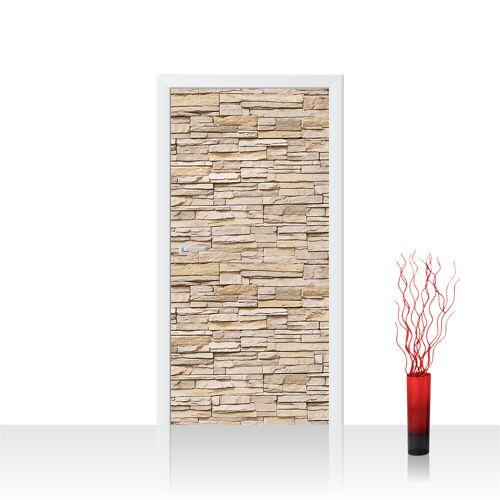liwwing (R) Türtapete - Asian Stone Wall - beige Steinwand Steinoptik Verblendsteine Wandverblender   no. 141 Tür Fototapete - Vlies PREMIUM PLUS 100x211 cm
