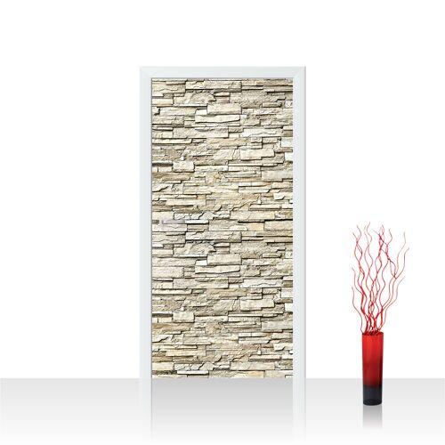 liwwing (R) Türtapete - Noble Stone Wall - beige Steinwand Steinoptik Verblendsteine Wandverblender   no. 146 Tür Fototapete - Vlies PREMIUM PLUS 100x211 cm