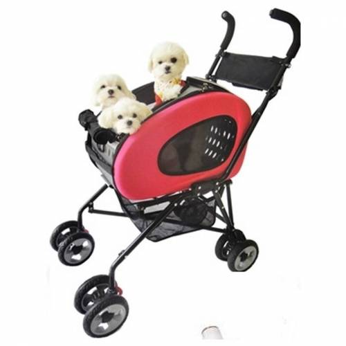 InnoPet® Hundebuggy 5 in 1 Buggy + Hundetrolley + Hundetasche in Pink/Rot