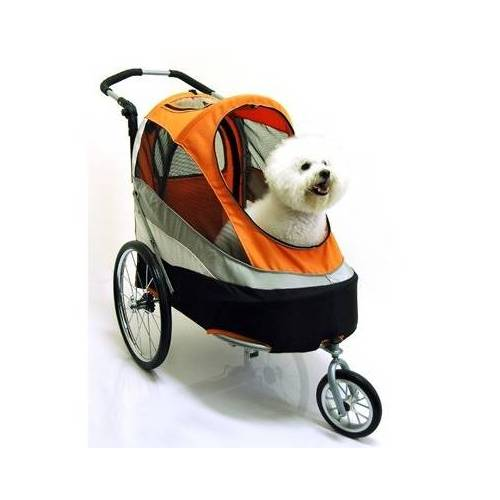 InnoPet® Sporty Trailer Pet Stroller Hundebuggy mit Luftreifen orange/black bis