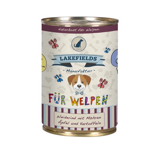 Lakefields Dosenfleisch-Menü Welpen Nassfutter Rind 6 x 400 g