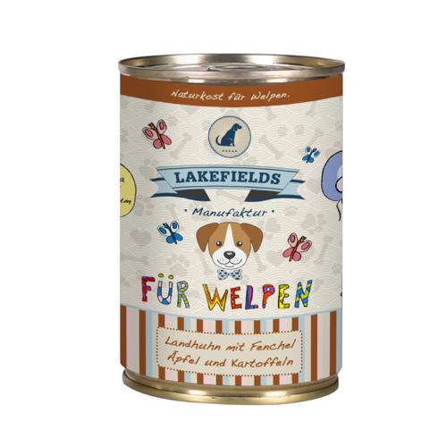 Lakefields Dosenfleisch-Menü Welpen Nassfutter Huhn 6 x 400 g