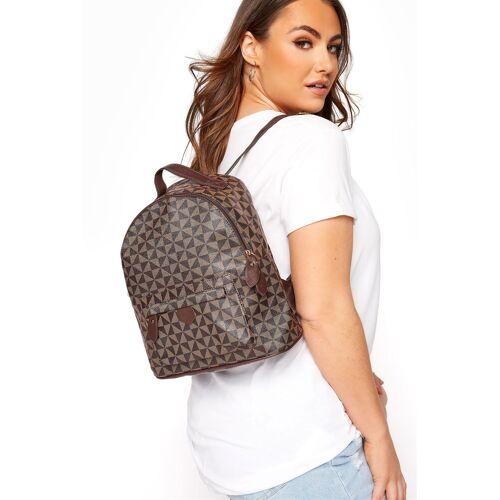 Brauner rucksack mit geometrischem print