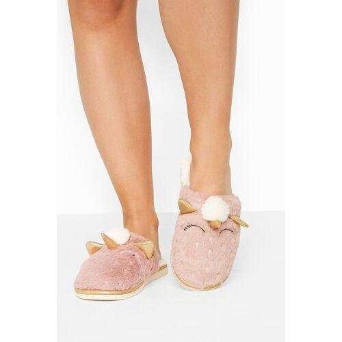 Pinke vegane fell einhorn pantoffel, passform regular fit