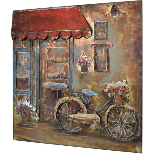 MÖBEL IDEAL 3D Metallbild Fahrrad Cafe Wandbild 100 x 100 cm
