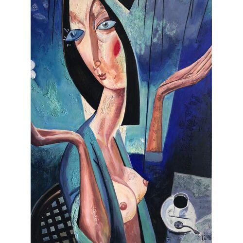 Bild Kunstwerk Gemälde Acryl auf Leinwand Popart streetart unikat Kaffee Kubismus porträt 80 x 60