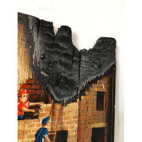 Bild Kunstwerk Gemälde FireArt Holzkunst Feuerwehr Feuerwehrmann