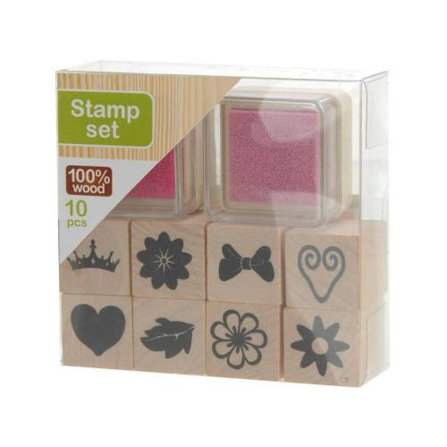 Kreativ Krea Stempel Set Pink/Rosa