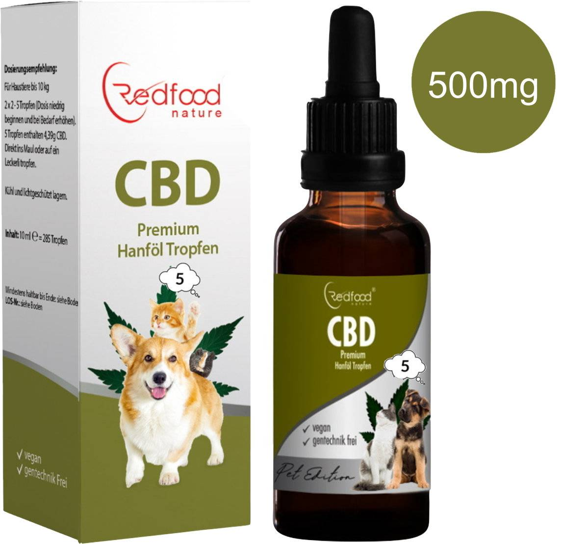 Redfood24 5 % CBD ÖL für Tiere 10ml