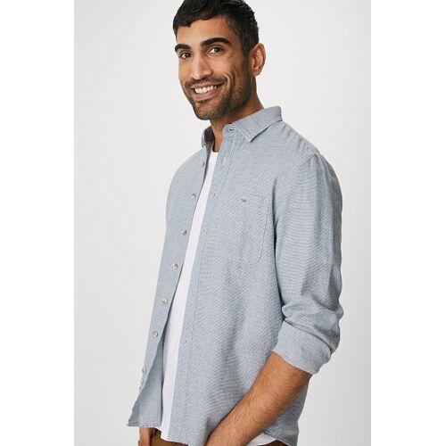 Canda C&A Hemd-Regular Fit-Kent, Blau, Größe: S/Male