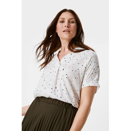 Canda C&A Bluse-gepunktet, Weiß, Größe: 46