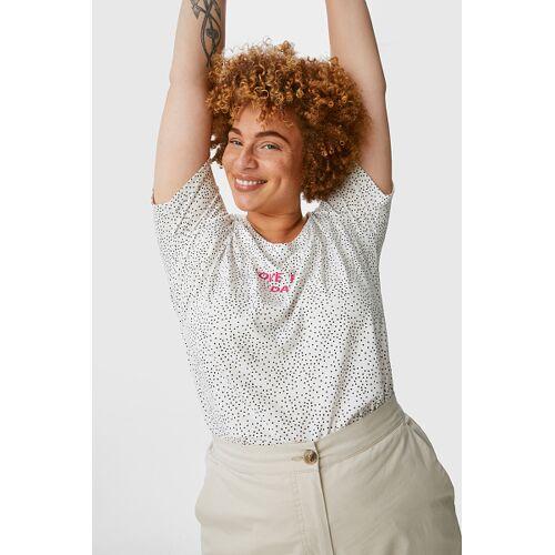 C&A T-Shirt-gepunktet, Weiß, Größe: 56-58