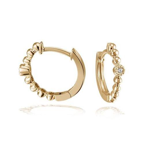 Goldmaid Paar Creolen 585 Gelbgold Ohrringe 2 Brillanten zus. 0,02 ct.