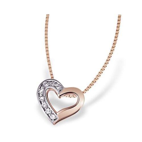 Goldmaid Collier Halskette Herz 375 Rotgold 8 Diamanten zus. 0,07 ct. SI1/H