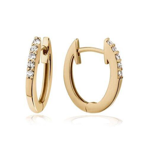 Goldmaid Paar Creolen 375 Gelbgold Ohrringe 10 Brillanten zus. 0,16 ct.