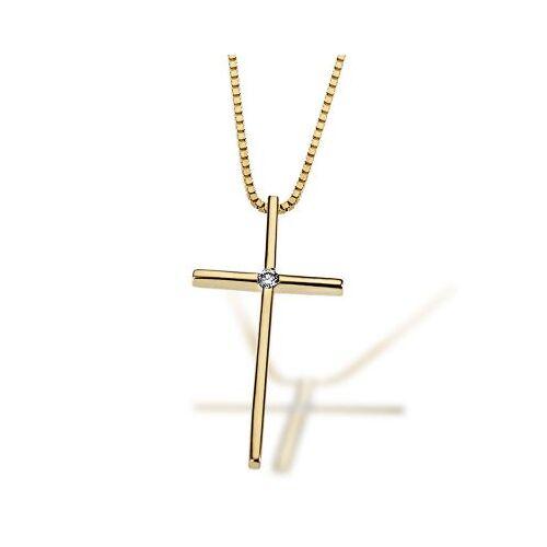 Goldmaid Collier Halskette 585 Gelbgold Kreuz 1 lupenreiner Brillant 0,02 ct. IF/KL
