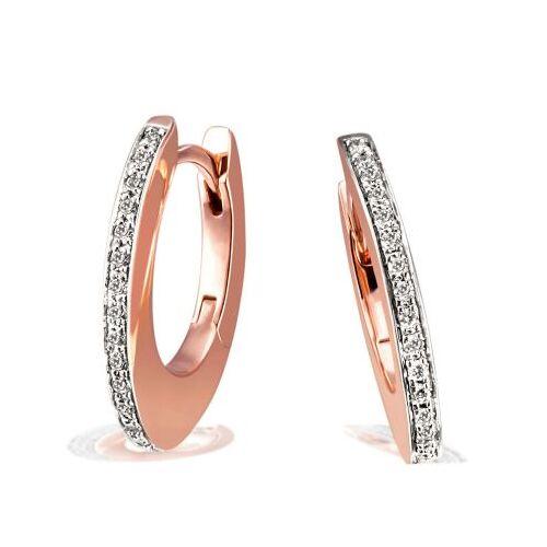 Goldmaid Paar Creolen 585 Rotgold Ohrringe 30 Brillanten zus. 0,10 ct. SI/H