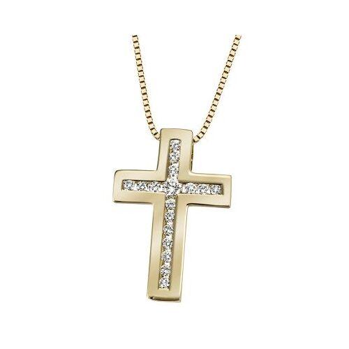 Goldmaid Collier Halskette 585 Gelbgold Kreuz 17 Lupenreine Brillanten 0,25ct.