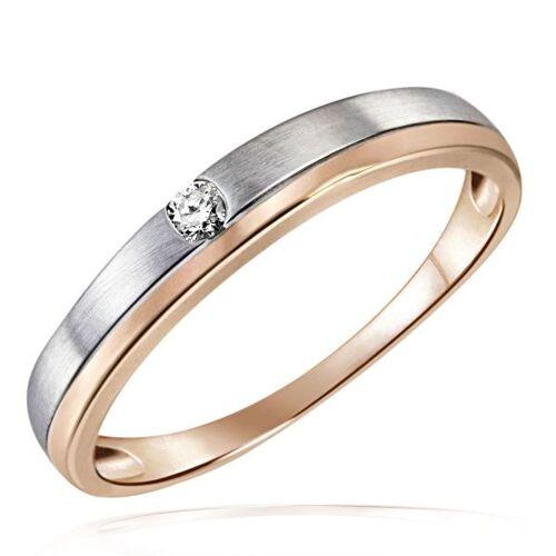 Goldmaid Damen Ring Bicolor Spanndesign Rose- und Weissgold 375 mit Brillant 0,05 ct.