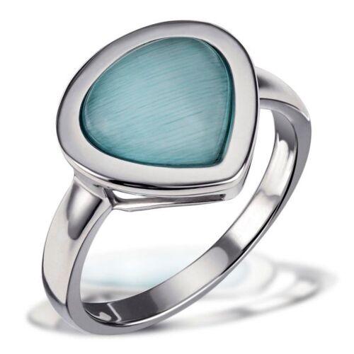 Goldmaid Damenring 925 Sterlingsilber aquamarinblauer Glaskristall