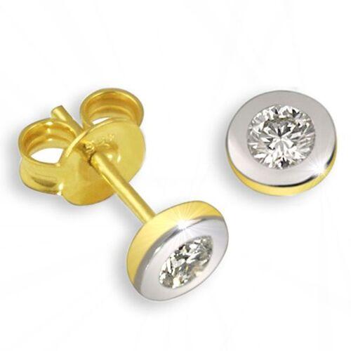 Goldmaid Paar Ohrstecker Bicolor 585 Gold 2 Brillanten lupenrein zus. 0,10 ct. IF/KL