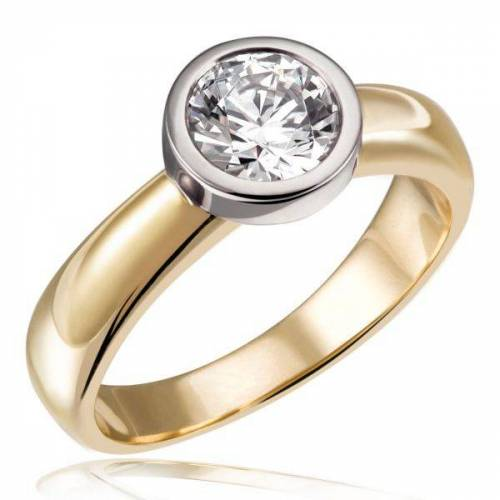 Goldmaid Stella Ring 750/- Gold Bicolor 1 Brillant 1,00 ct. Lupenrein oder SI inkl. IG...