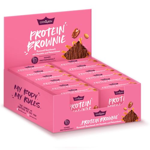 GYMQUEEN Protein Brownie - 12x50g - Karamell Geschmack mit Mandeln & Pekannüssen